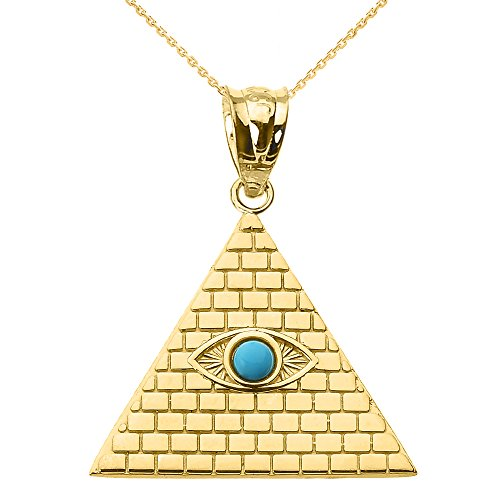 """Fine 10k Gold Egyptian Pyramid Charm with Evil Eye Pendant Necklace, 22"""""""