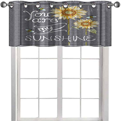 """Light-Filtering Curtain Valance You are My Sunshine Quote on a Black Board with Bees and Sunflowers 36"""" x 18"""" Window Valence for Living Room Gray Yellow"""
