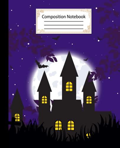 Cuaderno de composición: hermosa cubierta de color azul mezclilla, diseños Happy Halloween amplia rayas blancas cuento de papel de escritura diario en ... y maestros niño niñas...