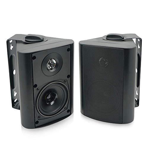 Herdio 4 Zoll Wasserdicht Bluetooth Außenlautsprecher Outdoor-Lautsprecher für Garten, Terrasse, Restaurant (200 Watt) schwarz