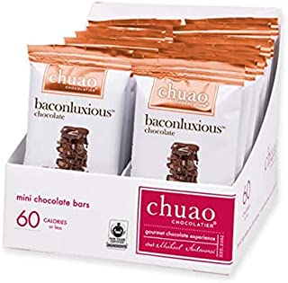 Chocolate Bars - Chuao Chocolatier Baconluxious Mini Chocolate Bars 24pk (.39 oz mini bars) - Best-Selling Chocolate Pack - Gourmet Artisan Milk Chocolate - Free of Artificial Flavors