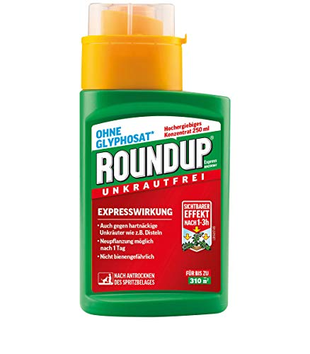 Roundup Express Konzentrat Unkrautvernichter Konzentrat, gegen Unkräuter, Gräser und Moos, Ohne Glyphosat, bis zu 310m², 250 ml