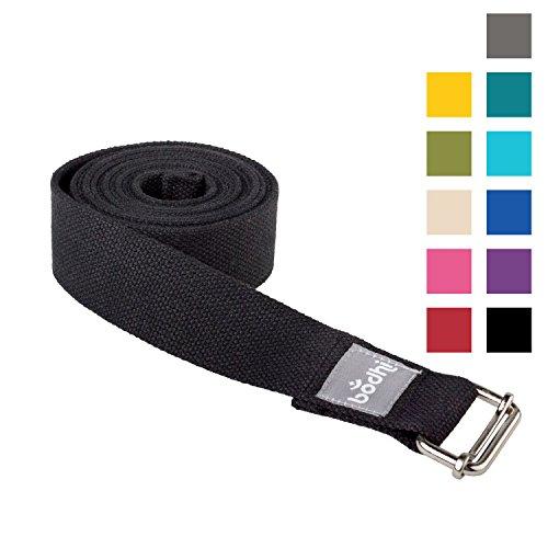 Yoga-Gurt ASANA BELT aus Baumwolle mit Schiebeschnalle aus Metall, praktisches Yoga-Zubehör, Basic Hilfsmittel nicht nur für Anfänger (schwarz)