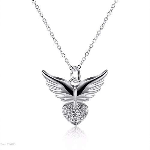 Alas de ángel Colgante Collar Mujeres Hadas de Plata Collares y Colgantes Joyas Micro Pavimento Gargantilla Regalos de corazón
