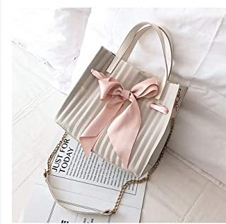Adebie - Summer New Scarf Bow Transparent Clear Women Handbag Beach Sweet Brand Designer Crossbody Shoulder Bag Lady Jelly Large Tote Bag White []