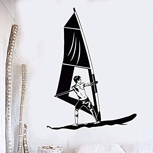 Pegatinas De Pared Arte De La Pared Vinilo Windsurf Deportes Acuáticos Etiqueta De La Pared Mural Calcomanías Para Ventanas De Windsurf 57X77Cm