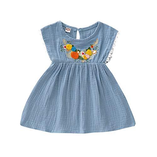 Alikey Toddler babyjurk, meisjes, bloemenborduurwerk, bloemenmotief, kant, ruches, baby, meisjes, zomer, mouwloos, met strik, vlinder, haarband