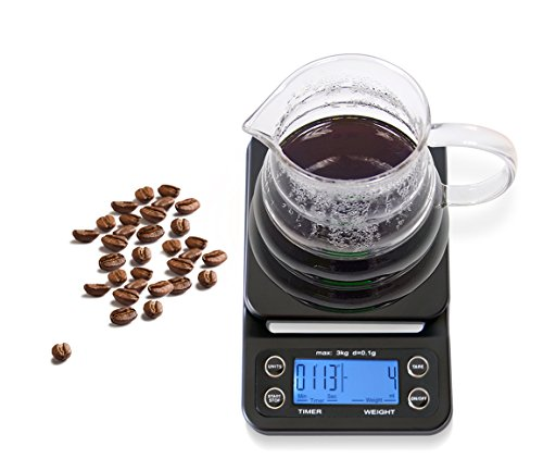 HuiSmart Digital Coffee Scale with Timer and Tare Function 0.1g, Multifunctional Kitchen Scales Food Scales 6.6lb/3kg, LCD W/Blue Backlit,Batteries Included,Black