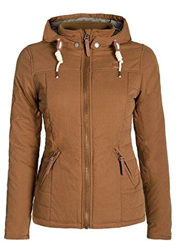 DESIRES Lewy Damen Übergangsjacke Steppjacke leichte Jacke gefüttert mit Kapuze und Stehkragen, Größe:M, Farbe:Cinnamon (5056)