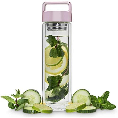 Buntfink 2goBottle Teeflasche aus Glas mit Sieb,Teebereiter to go, Trinkflasche mit Teesieb für Tee oder Wasser, Thermoflasche/Teekanne (doppelwandig) - Roségold (rosa)