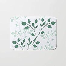 Bath Mat - Bathroom Boho Hippie Gift Girl Kids Boy White Pattern Floral Leaves Green Sage Dorm Relax Christmas Abstract