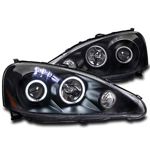 ZMAUTOPARTS For 2005-2006 Acura RSX CCFL Halo LED Black Projector Headlights Lamps
