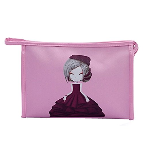 Grande capacit?Pouches Maquillage Sacs Trousse ?main, Rose