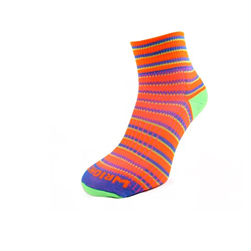 Wrightsock Coolmesh II Quarter Socke Orange Blue Green 37.5-41