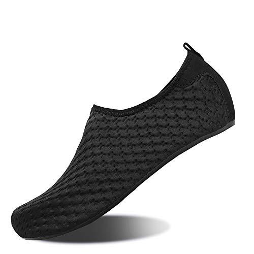 WateLves - Zapatillas acuáticas para hombre y mujer, de deporte acuático, de surf, de yoga y de playa, pies desnudos de secado rápido, (Yh Noir), 48/49 EU
