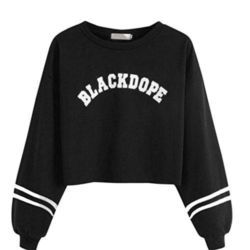 VEMOW Damen Bluse, Frauen Mode Langarm BLACKDOPE Brief gedruckt Sweatshirt Tops