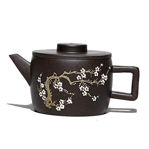 Juego de té chino Teteras Juego de té de la tarde Tetera Infusor de té Tetera de terracota con flor de ciruelo de oro negro Tetera Tetera Tetera con filtro de arcilla púrpura Tetera de belleza Mineral