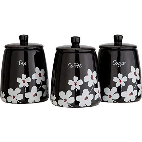 Generic Sters Pot à Sucre de Stockage Cani Thé café EA Common Object File Format Luxe Noir Scatter Floral Boîtes de thé Ensemble de bocaux Scatter en céramique Floral