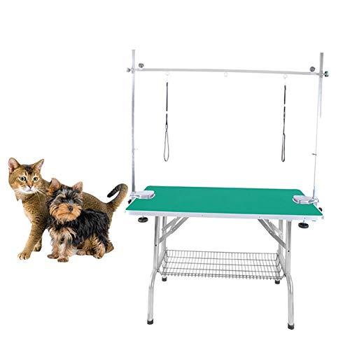 MC.PIG Mesa peluqueria canina Mesa plegable grande para peluquería de perros para mascotas Brazo, soga y estante para trabajo pesado, capacidad de 100 KG, mesa de peluquería para perros de acero inoxi