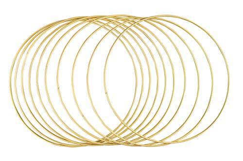 Rayher 25214616 Metallringe, 10 Stück, 25 cm ø, gold beschichtet, Stärke ca. 3 mm, Drahtringe zum Basteln, für Wickeltechnik, Traumfänger, Floristik, Hochzeitskranz, Hoops