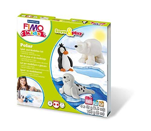 Staedtler 8034 15 LYST Polar Fimo kids form&play Set (superweiche, ofenhärtende Knete, leichte Anleitung, wiederverschließbare Box, Set mit 4 Blöcken, 1 Modellierstab und 1 Spielkulisse)
