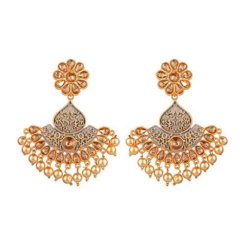 Efulgenz Juego de pendientes de perlas de imitación de cristal chapado en oro antiguo de Bollywood de la India