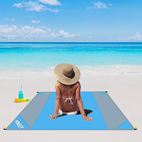 Stranddecke 200 x 200 cm, Picknickdecke wasserdichte und sandfreie Outdoor Picknickdecke, Schnelles Trocknen Strandmatte für den Strand, Camping, Piknicke und Wanderungen