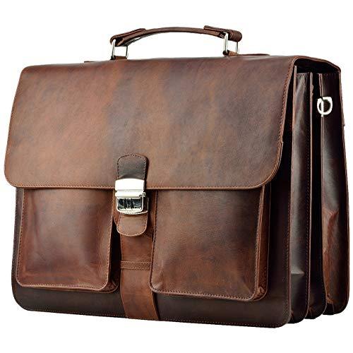 FEYNST Aktentasche Umhängetasche 15,6 Zoll Leder Herren und Damen Laptoptasche Notebooktasche Braun