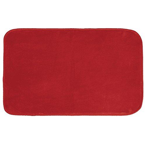 CDaffaires Tapis Rectangle 50 x 80 cm Velours uni louna Rouge
