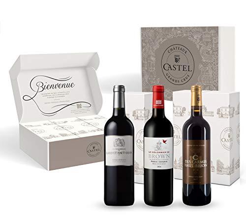 Coffret Cadeau - Vin Rouge - Grands Vins de Pessac - Leognan - Sélection de Vins Grand Crus - C de Carmes Haut Brion - Les Demoiselles de Larrivet - Colombier de Brown - 3x75cl