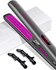 NEGATIVE ION FLAT IRON -Titanium flat iron hair straightener and curling iron can achieve a variety of styles and increase shine. Hair Straightener and Curler would release negative ions when heating up to moisten your hair and transform frizzy, dull...