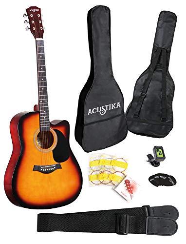 """ACUSTIKA F315 Chitarra Acustica - Chitarra Acustica cut-away misura 41"""" (105x40x10) cm in Legno - 6 Corde in Acciaio, colore Sun Brust."""