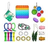 Kit De Juguetes Sensoriales, 23 Pack/Set Juguete Antiestres Pop-it Fidget Sensory Toys, Push Bubble Fidget Juguete Sensorial para Autismo Necesidades Especiales para Aliviar El Estrs