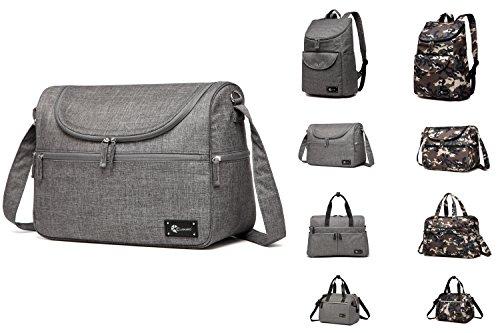 Clamaro 'Baby Explorer M' Wickeltasche groß 16 Liter inkl. Wickelunterlage, Babytasche mit Henkel und Tragegurt, mit 2 Thermo Fächern, Reißverschlussfächern und Organizer Fächern - leinen grau