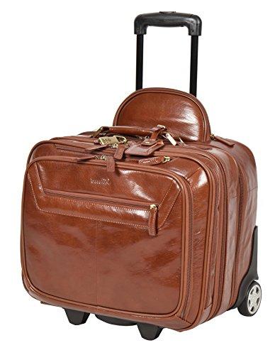 Real Leather Pilot Case on Wheels Flight Work Laptop Trolley Cabin Bag HLG891 Chestnut