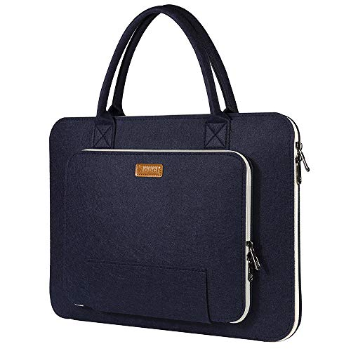 Ropch 15.6' Felt Laptop Sleeve with Handle, Portable Laptop Bag Notebook Computer Case Carrying Bag Pouch Handbag for 15 15.6 Inch Asus/Acer/Dell/HP/Lenovo/Toshiba, Navy Blue and Creamy-White
