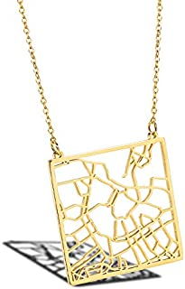 SHUZHENLIAN City Map Necklace Jewelry Your Hometown Pendant Necklace Memorial Day Gifts