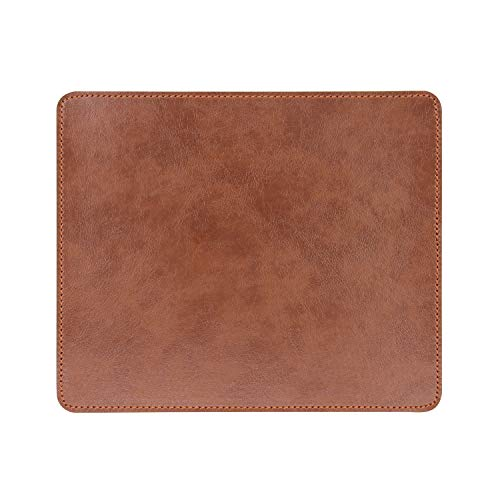 Non-Slip Rubber Base Leather Mousepad for Laptop Computer PC Personality Desings Gaming Mouse Pad Mat 9.45 X 7.87 inch (Leahter Mouse Pad-Coffee, 9.45 X 7.87 inch)