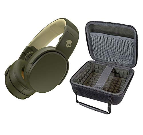 Skullcandy Crusher Foldable Noise Isolating Over-Ear Wireless Bluetooth Immersive Headphone Bundle with Portable Hardshell Case - Moss