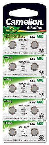 10 Stk. (1 Blister) Camelion 0%HG Alkaline 1,5V Knopfzellen Uhren-Batterien AG0, 379, LR521, 1190SO, 379, SR521W, SR521