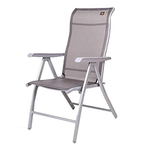 QIDI Chaise Pliante Facile à Transporter en métal Teslin Lit - Bureau/Maison/Extérieur - Asseyez-Vous/Allongez-Vous - Pas Besoin d'installer (Couleur : Silver, Taille : Standard Version)