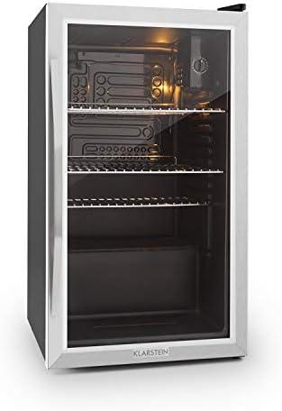 Klarstein Beersafe - Nevera con puerta acristalada, Mininevera, Minibar, Iluminación LED, Acero inoxidable, 5 niveles de frío, 42 dB, 3 rejillas metálicas extraíbles, G, 85 litros, Negro