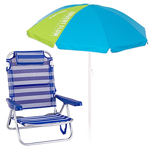 Pack de Silla de Playa con cojín Azul y Blanco de Aluminio y textileno y sombrilla de Ø 180 cm - LOLAhome