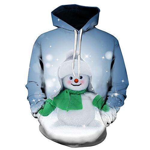 showsing-kleding Kerst Mens Lange Mouw Hooded Tops 3D Kerstman Gedrukt Pullover Sweatshirt Blouse Xmas Gift