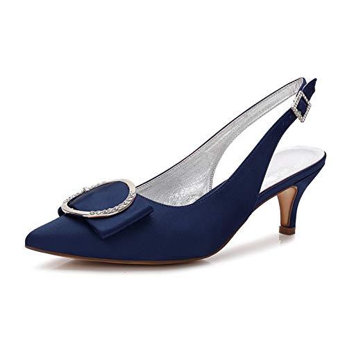 AQTEC Zapatos de Tacón para Mujer Puntiagudos de satén De tacón bajo Zapatos de Boda con Hebillas y Tiras en la Parte Trasera Zapatos de Novia de Salon,Dark Blue,37 EU