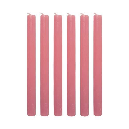 connox Collection Rustikale Stabkerze (6er-Set) Höhe 25 cm, Ø 2.2 cm durchgefärbte und hochwertige Tafelkerzen ideal für Kerzenständer (rosa)