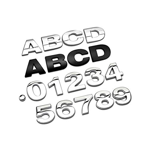 Xianggujie Insignia plateada del alfabeto con números de letras plateadas, cromadas y plateadas, pegatinas para automóviles y accesorios de coche, decoración (color: color negro)