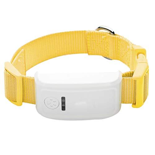 UKCOCO Hundehalsband mit GPS Tracker, Anti-verlorene GPS Hund Haustier Finder Locator, Entfernter Tracker für Haustier Hund Katze (Gelb)