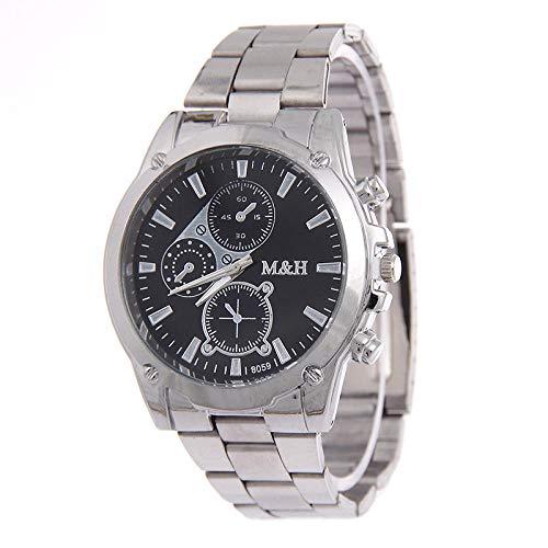 Reloj de Mujer Pulsera de Regalo Reloj de Acero Dorado con Correa para Hombre de Geneva-Cara Negra Plateada
