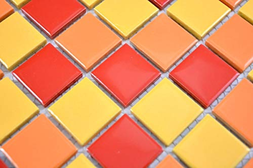 Mosaikfliese Keramik bunt gelb orange soft rot glanz Fliesenspiegel MOS18-0789_m